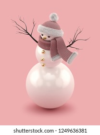 Christmas snowman in a knitted hat and scarf isolated on Rose Gold background. Trendy 3D illustration. 3d rendering.