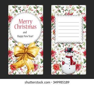 Christmas snowman , poinsettia flower, invitation,  merry Christmas
