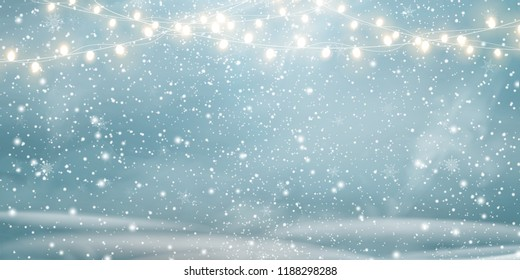 Christmas, Snowy landscape with light garlands, falling snow, snowflakes, snowdrift. Happy new year. Holiday winter landscape for Merry Christmas. Winter background. Christmas scene. Vector.
