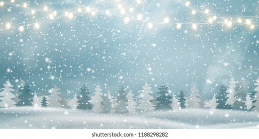 Christmas, Snowy Woodland landscape. Winter background. Holiday winter landscape for Merry Christmas with firs, coniferous forest, light garlands, snow, snowflakes. Christmas scene. Happy new year