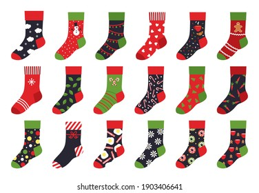 Christmas socks. Cartoon trendy flat clothing element and winter celebration attributes with patterns and ornaments.  set holiday colorful stocking illustrations like winter colorful ornate