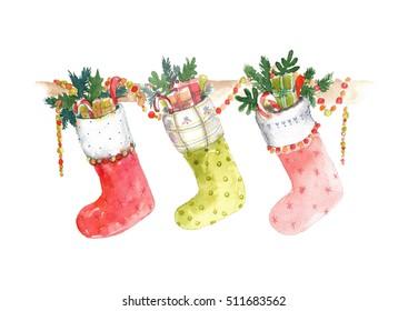 Christmas socks with garland.