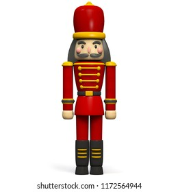 Christmas Soldier Nutcracker Character. Isolated on White. Clipping path included. 3D Illustration