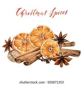 Christmas spices, cinnamon, star anise, cloves, nutmeg, orange, card for you, handmade, watercolor illustrations