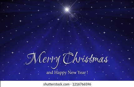 Christmas star greeting card background. Christmas background illustration, with Nativity star in blue starry sky, at night and white text.