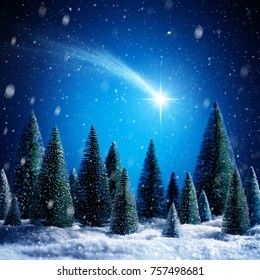 Christmas Star Shotting In Snowy Night On Silent Forest - contains 3d illustrations