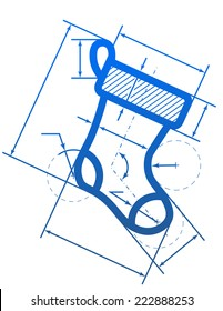 Christmas stocking symbol with dimension lines. Element of blueprint drawing in shape of sock. Design element for christmas, new year's day, winter holiday, engineering, new year's eve, technologies