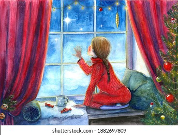 Christmas stories. New year and Christmas. Watercolors, pencils.