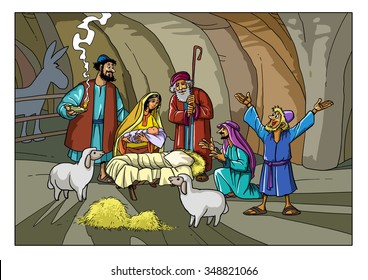 Christmas Story. Shepherds in the stable with Joseph, Mary and baby Jesus