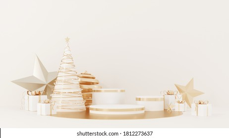 Christmas studio interior with gold platform, toys. Stand, podium, pedestal for goods, shop windows and magazines.New Year greeting card, poster, banner with red gift boxes, presents - 3D, render.