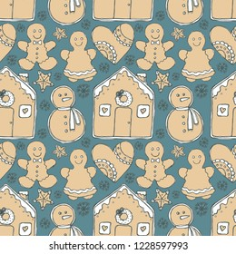 Christmas symbols gingerbread man, woman, snowman, house, heart, stars and snowflakes hand drawn liner sketch doodle graphics seamless pattern. Perfect for wrapping paper, greeting and postcards