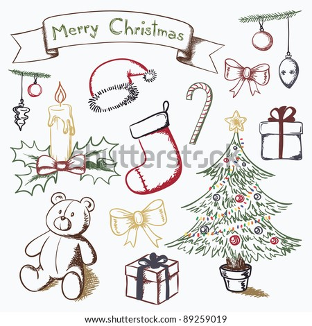 christmas themed set vector drawings stock illustration 89259019