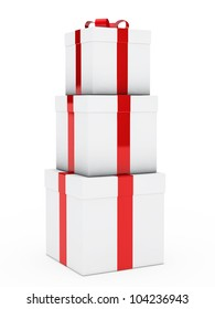 christmas three gift boxes red white stack