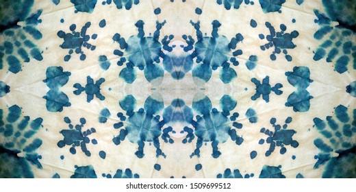Christmas Tie Dye Seamless Patchwork. Azure on White Background. Aquarelle Xmas Snowflakes. Vintage Ethnic Dirty paper. Geometry Aquamarine Snowflakes. Borderless print.