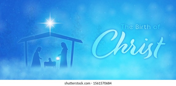 Christmas time. Manger with baby Jesus, Mary, Joseph and star of Bethlehem. Text : The Birth of Christ
