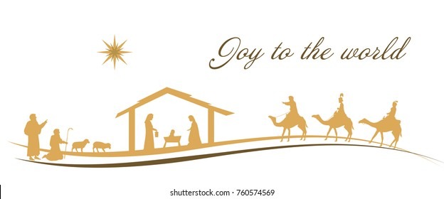 Christmas time. Nativity scene with Mary, Joseph, baby Jesus, shepherds and three kings.