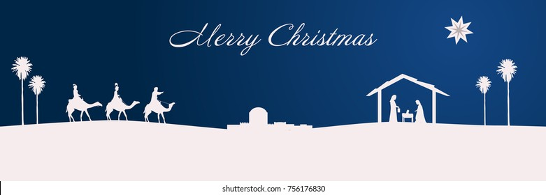 Christmas time. The three kings follow the star to Bethlehem in blue landscape. Text: Merry Christmas