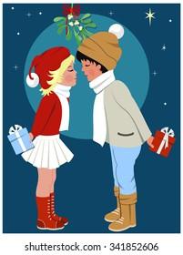 Christmas traditions.Kissing Under the Mistletoe. Bitmap