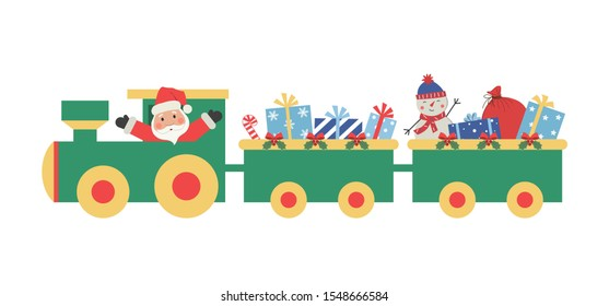 Christmas train with gifts. There is also Santa Claus and snowman in the picture. Raster