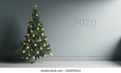 Christmas tree and 2020 year. Happy new year 2020. Minimalist 3d illustration of Happy new year.