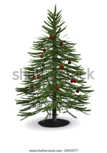 christmas tree in 3d over a white background