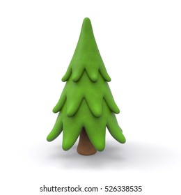 Christmas tree 3d rendering isolated on white background