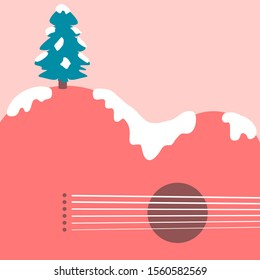 Christmas tree and acoustic guitar landscape background for Print or Web