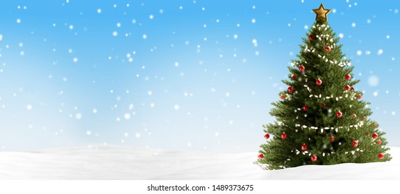 Christmas tree backdrop with snowflakes 3d-illustration