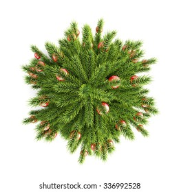 Christmas tree with Christmas balls top view on a white background. 3d illustration.