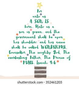 christmas tree bible verse with religious christian text