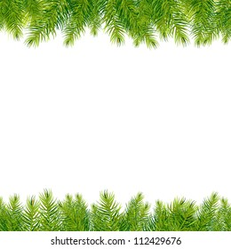 Christmas Tree Borders, Isolated On White Background