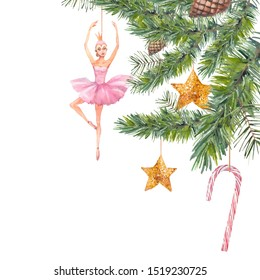 Christmas tree branch decorated with toys. Watercolor retro ballerina doll, stars, pinecone, evergreen spruce. Winter illustration isolated on white background