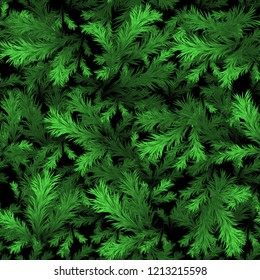 Christmas tree branches seamless background, 3d pattern