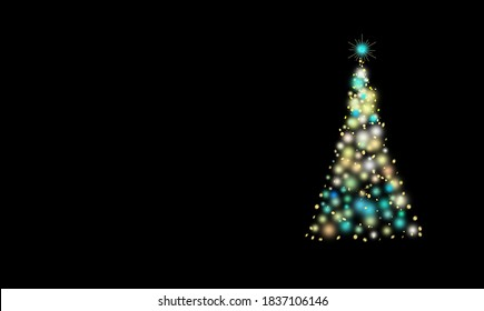 Christmas tree burns with bright lights, Sparkle magic xmas tree light.Mockup ready for text message, Greeting card Merry Christmas and Happy New Year.
