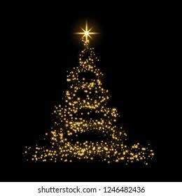Christmas tree card background. Gold Christmas tree as symbol of Happy New Year, Merry Christmas holiday celebration. Golden light decoration. Bright shiny design illustration