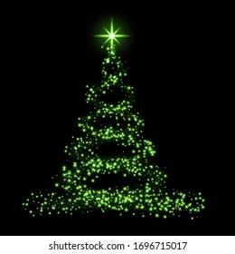 Christmas tree card background. Green Christmas tree as symbol of Happy New Year, Merry Christmas holiday celebration. Sparkle light decoration. Bright shiny design illustration