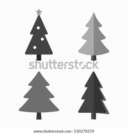 Christmas Tree Cartoon Icons Set Black Stock Illustration Royalty