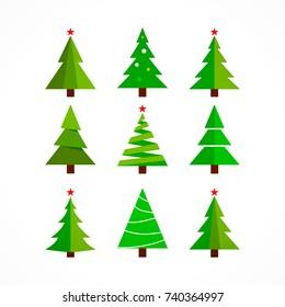 christmas tree cartoon on white background.