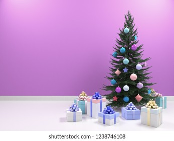 Christmas tree with colored balls toys, gifts boxes. Holiday, new year celebration theme with free copy space. Interior with clean pink. purple wall blank for design, text or image. 3d illustration