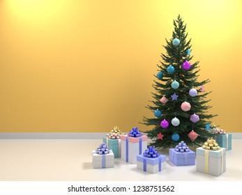 Christmas tree with colored balls toys, gifts boxes. Holiday, new year celebration theme with free copy space. Interior with clean yellow, beige wall blank for design, text or image. 3d illustration