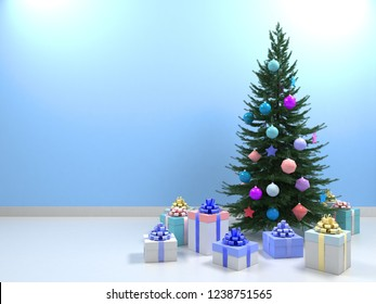 Christmas tree with colored balls toys, gifts boxes. Holiday, new year celebration theme with free copy space. Interior with clean light blue wall blank for design, text or image. 3d illustration