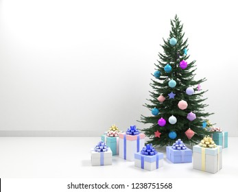 Christmas tree with colored balls toys, gifts boxes. Holiday, new year celebration theme with free copy space. Interior with clean white wall blank for design, text or image. 3d illustration