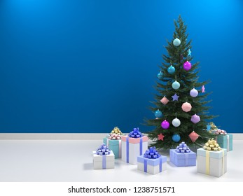 Christmas tree with colored balls toys, gifts boxes. Holiday, new year celebration theme with free copy space. Interior with clean blue wall blank for design, text or image. 3d illustration