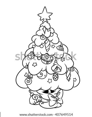 Christmas Tree Coloring Page Cartoon Illustration Stock Illustration