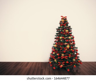 christmas tree dacorated in empty white room. holiday background for design.
