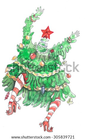 the christmas tree is dancing and swinging with long hands it has a red star