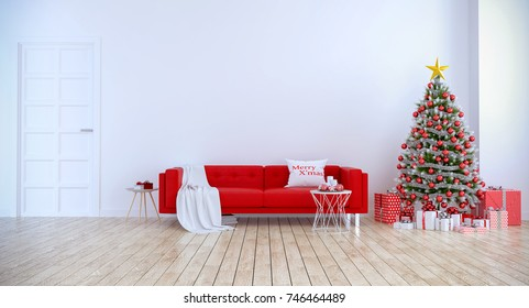 Christmas tree decorate on Modern living room ,red sofa  on white wall and wood floor ,at home for the holidays,3d rendering