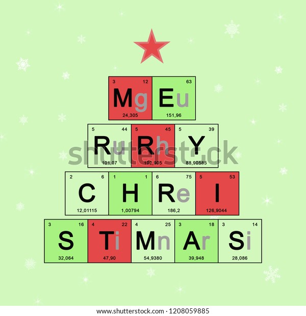 Christmas tree decorated elements periodic table, Scientific theme, chemistry - New Year card on light green background with white snowflakes, concept holidays symbol for Merry Christmas