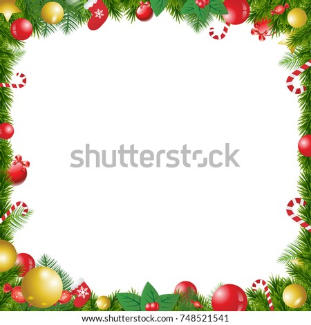 christmas tree decorated frame isolated on white background with space for text template