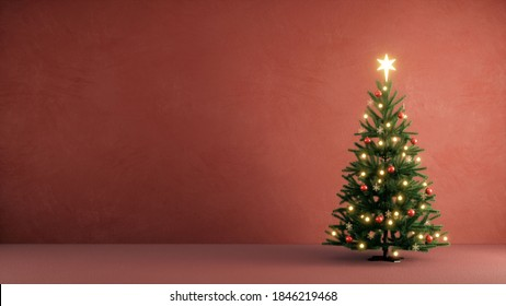 Christmas tree decorated with light start red and golden ball in a red paint concrete wall for a merry chirstmas day. 3d rendering christmas tree.